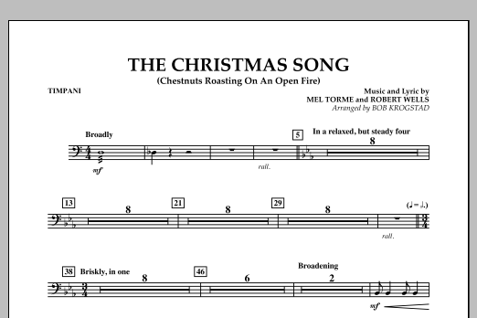 Bob Krogstad The Christmas Song (Chestnuts Roasting on an Open Fire) - Timpani sheet music notes and chords. Download Printable PDF.