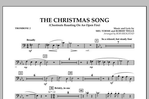 Bob Krogstad The Christmas Song (Chestnuts Roasting on an Open Fire) - Trombone 2 sheet music notes and chords. Download Printable PDF.