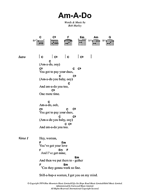 Bob Marley Am-A-Do sheet music notes and chords