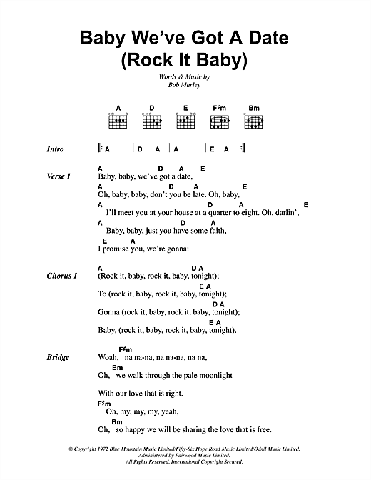 Bob Marley Baby We've Got A Date (Rock It Baby) sheet music notes and chords