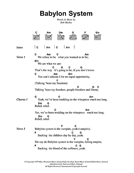 Bob Marley Babylon System sheet music notes and chords