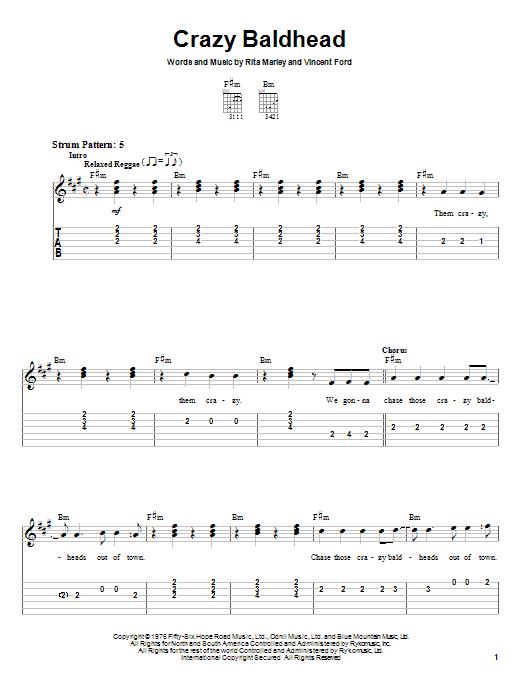Bob Marley Crazy Baldhead sheet music notes and chords