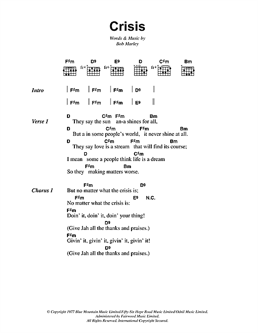 Bob Marley Crisis sheet music notes and chords