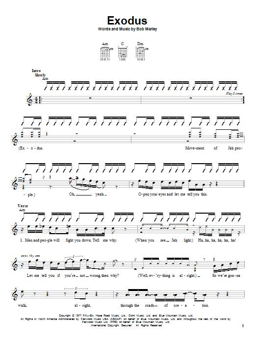 Bob Marley Exodus sheet music notes and chords