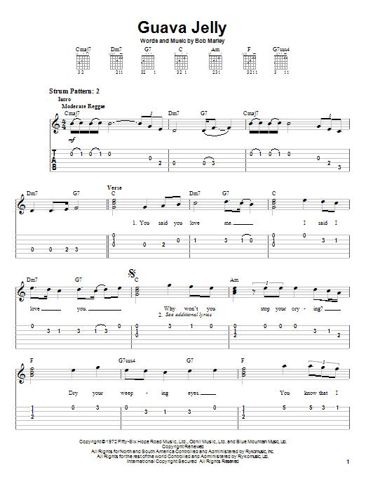 Bob Marley Guava Jelly sheet music notes and chords