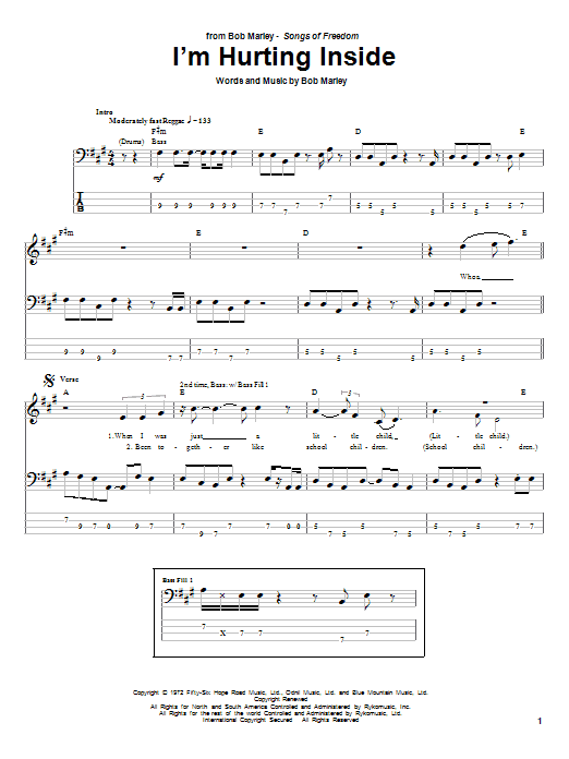 Bob Marley I'm Hurting Inside sheet music notes and chords