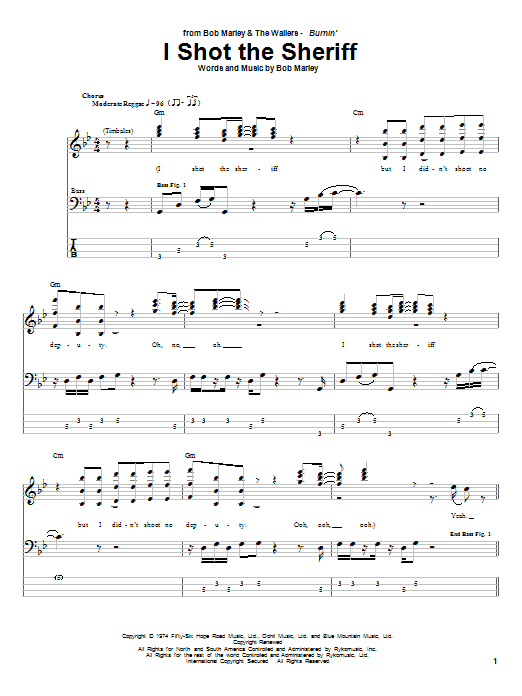 Bob Marley I Shot The Sheriff sheet music notes and chords. Download Printable PDF.