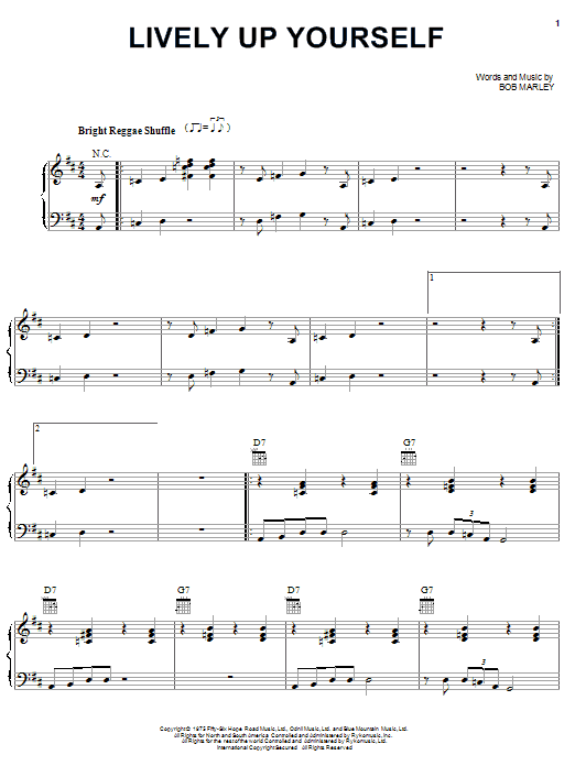 Bob Marley Lively Up Yourself sheet music notes and chords. Download Printable PDF.
