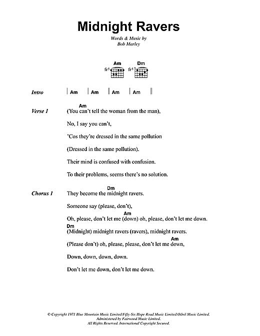 Bob Marley Midnight Ravers sheet music notes and chords