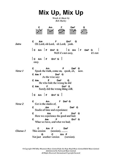 Bob Marley Mix Up, Mix Up sheet music notes and chords