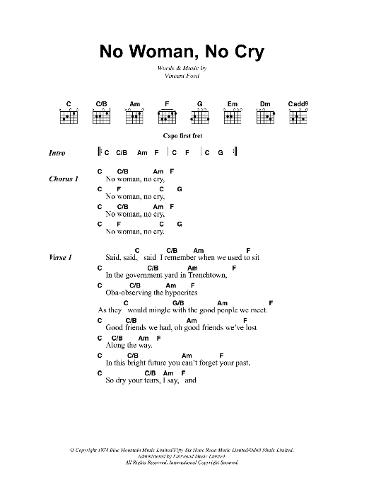 Bob Marley No Woman, No Cry sheet music notes and chords. Download Printable PDF.