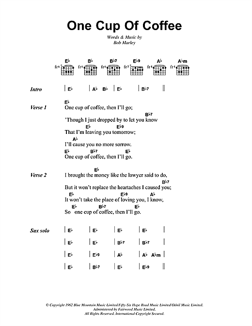 Bob Marley One Cup Of Coffee sheet music notes and chords