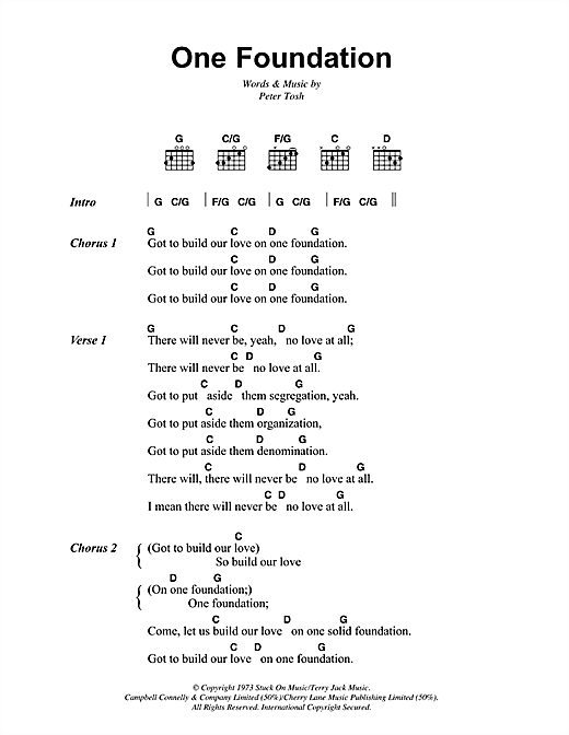 Bob Marley One Foundation sheet music notes and chords