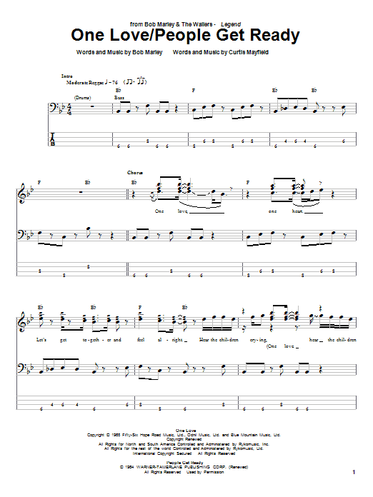 One love released guitar chords