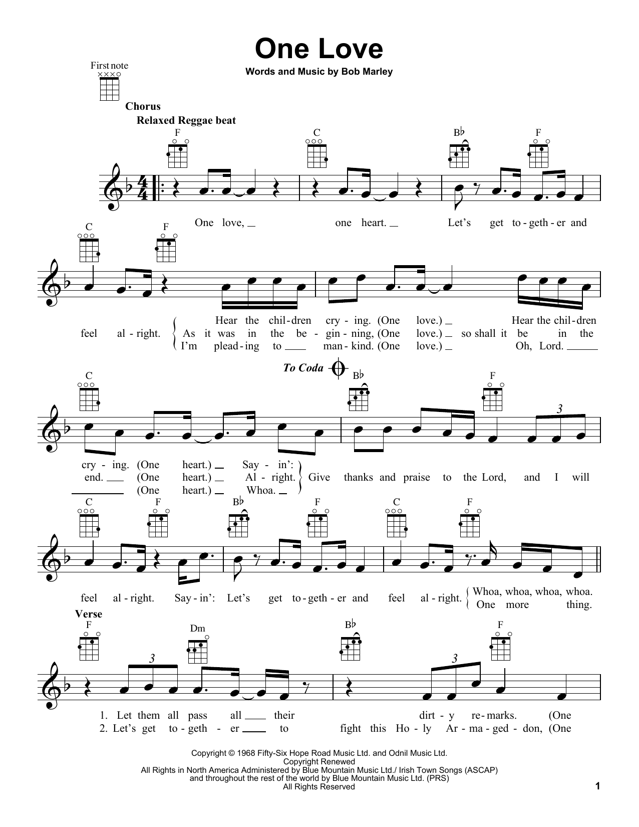 Bob Marley One Love sheet music notes and chords. Download Printable PDF.