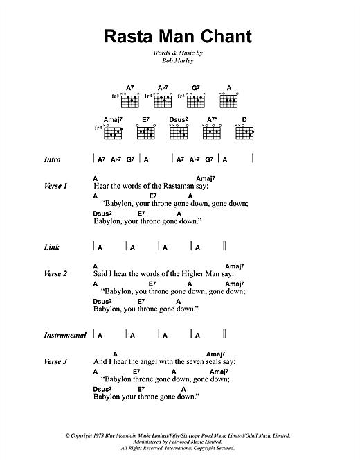 Bob Marley Rasta Man Chant sheet music notes and chords