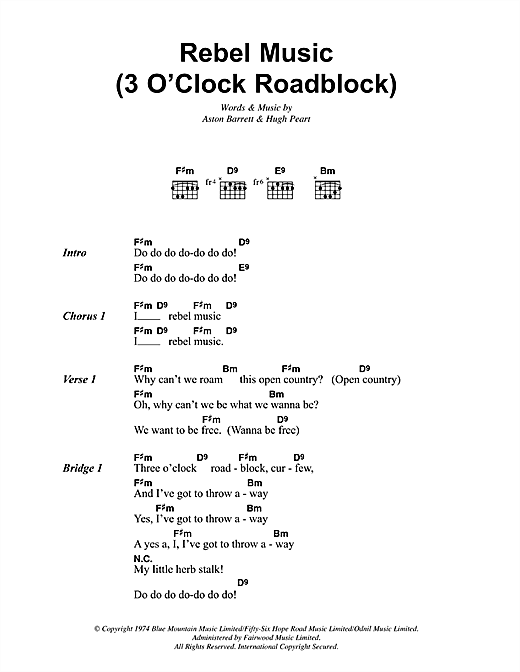 Bob Marley Rebel Music 3 O Clock Roadblock Sheet Music Notes