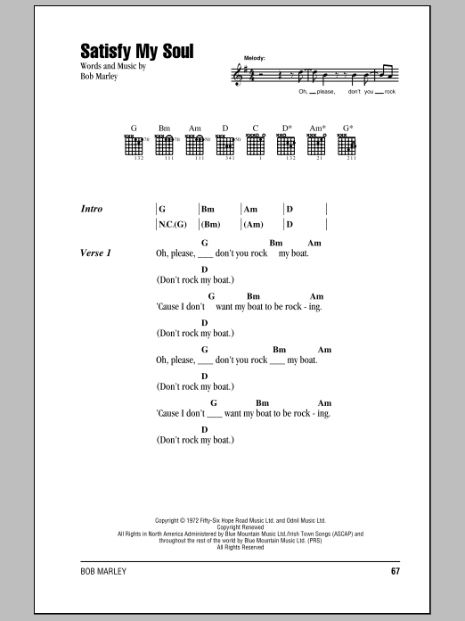 Bob Marley Satisfy My Soul sheet music notes and chords. Download Printable PDF.