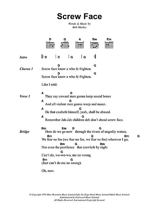 Bob Marley Screw Face sheet music notes and chords