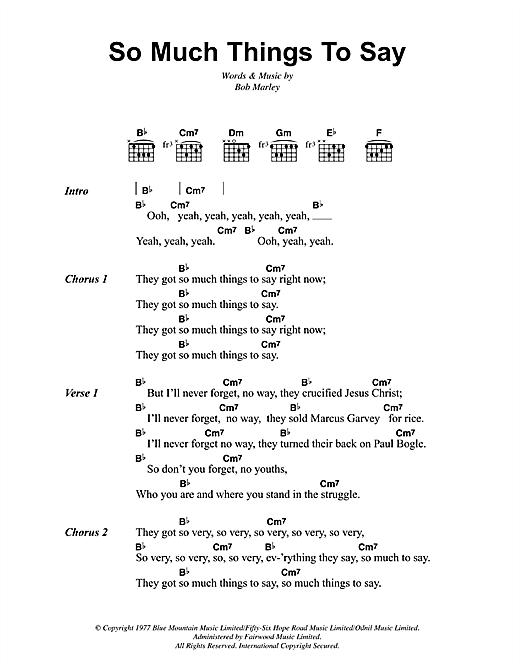 Bob Marley So Much Things To Say sheet music notes and chords