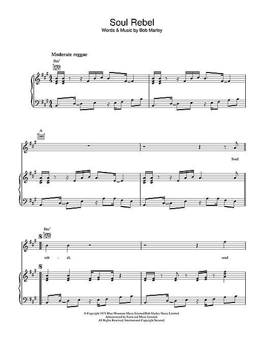 Bob Marley Soul Rebel sheet music notes and chords
