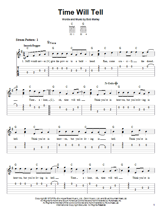 Bob Marley Time Will Tell sheet music notes and chords