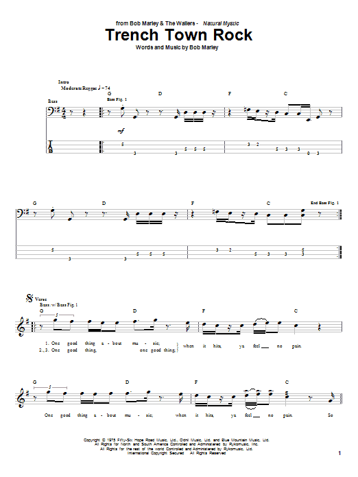 Bob Marley Trench Town Rock sheet music notes and chords
