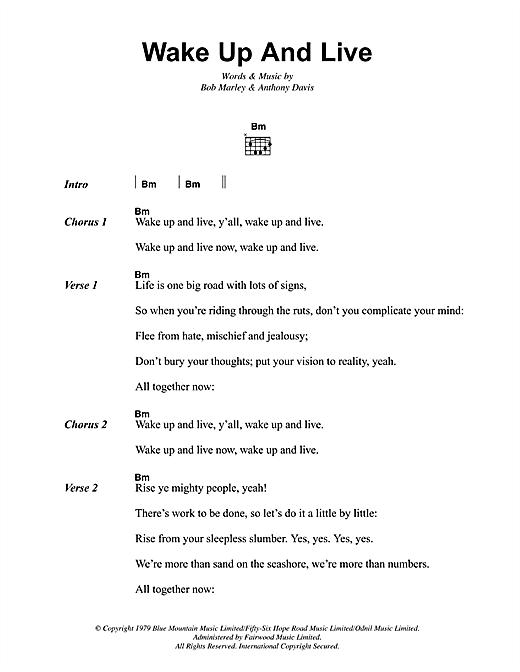 Bob Marley Wake Up And Live sheet music notes and chords