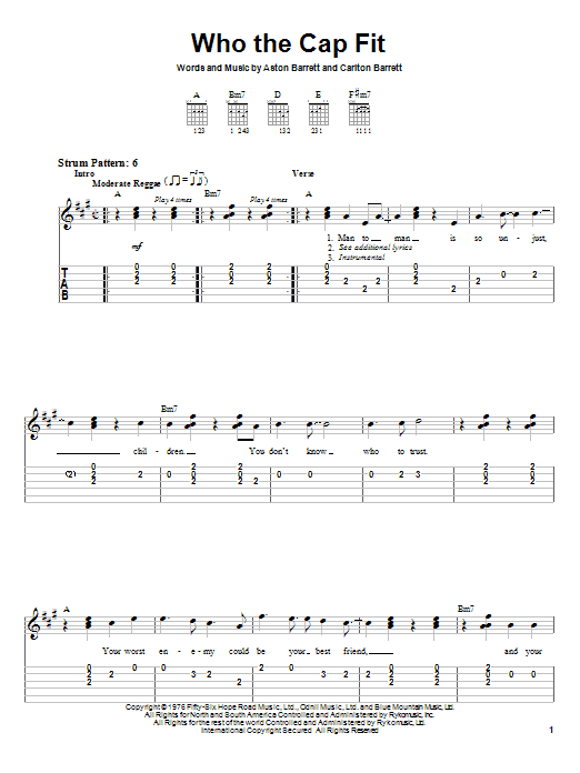 Bob Marley Who The Cap Fit sheet music notes and chords