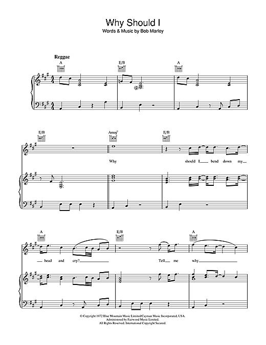 Bob Marley Why Should I sheet music notes and chords