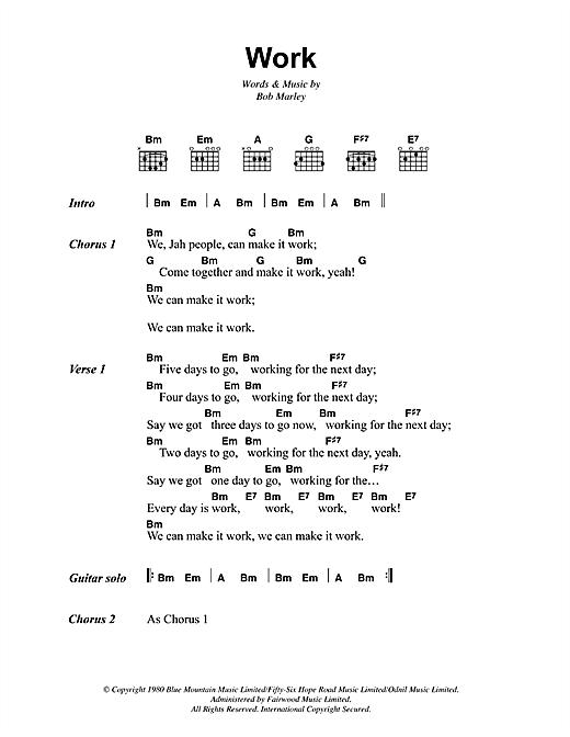 Bob Marley Work sheet music notes and chords