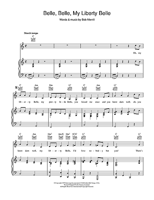 Bob Merrill Belle, Belle, My Liberty Belle sheet music notes and chords