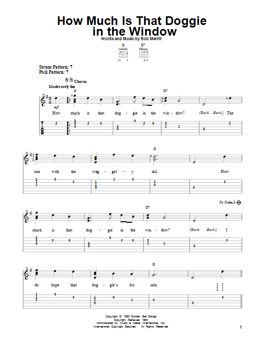 Bob Merrill How Much Is That Doggie In The Window sheet music notes and chords. Download Printable PDF.