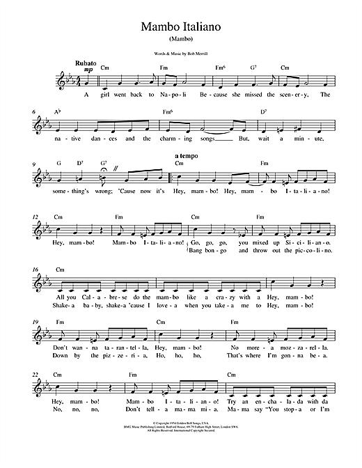 Bob Merrill Mambo Italiano sheet music notes and chords. Download Printable PDF.