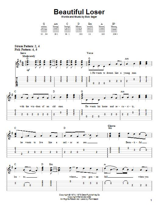 Bob Seger Beautiful Loser sheet music notes and chords