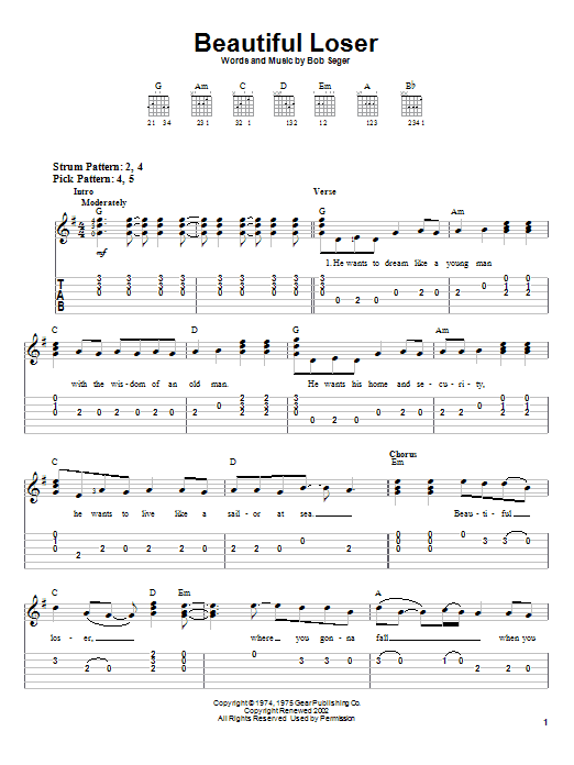 Bob Seger Beautiful Loser sheet music notes and chords. Download Printable PDF.