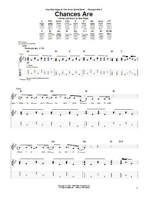 Bob Seger Chances Are sheet music notes and chords