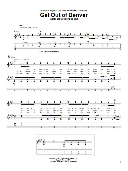 Bob Seger Get Out Of Denver sheet music notes and chords. Download Printable PDF.