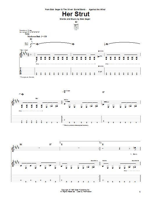 Bob Seger Her Strut sheet music notes and chords. Download Printable PDF.