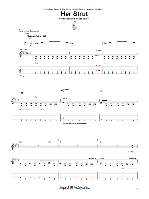 Bob Seger Her Strut sheet music notes and chords. Download Printable PDF.