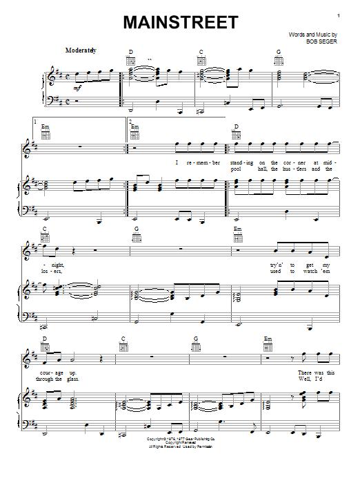 Bob Seger Mainstreet sheet music notes and chords. Download Printable PDF.
