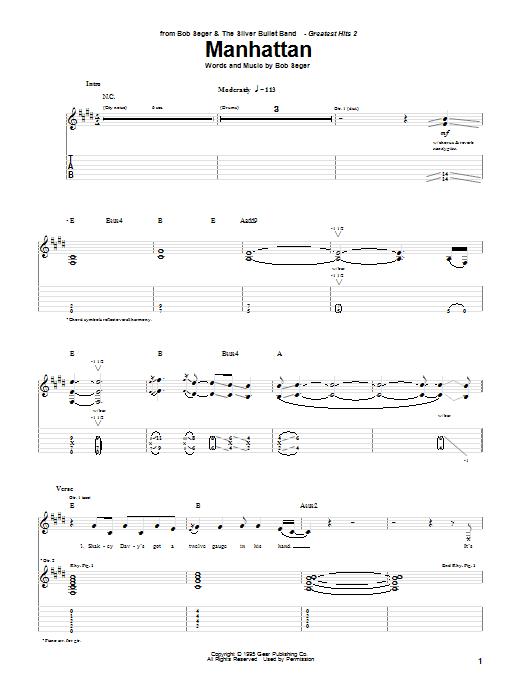 Bob Seger Manhattan sheet music notes and chords