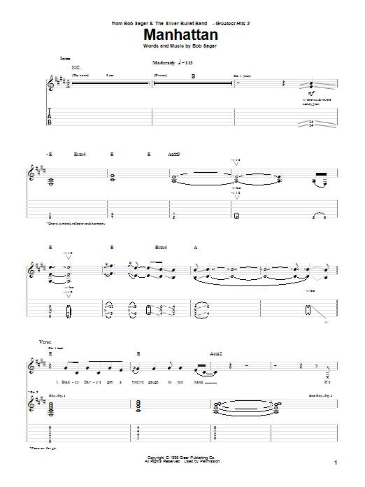 Bob Seger Manhattan sheet music notes and chords. Download Printable PDF.