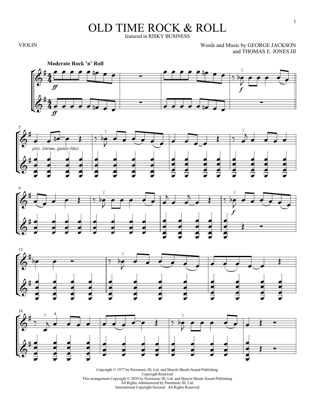 Bob Seger Old Time Rock & Roll (from Risky Business) sheet music notes and chords
