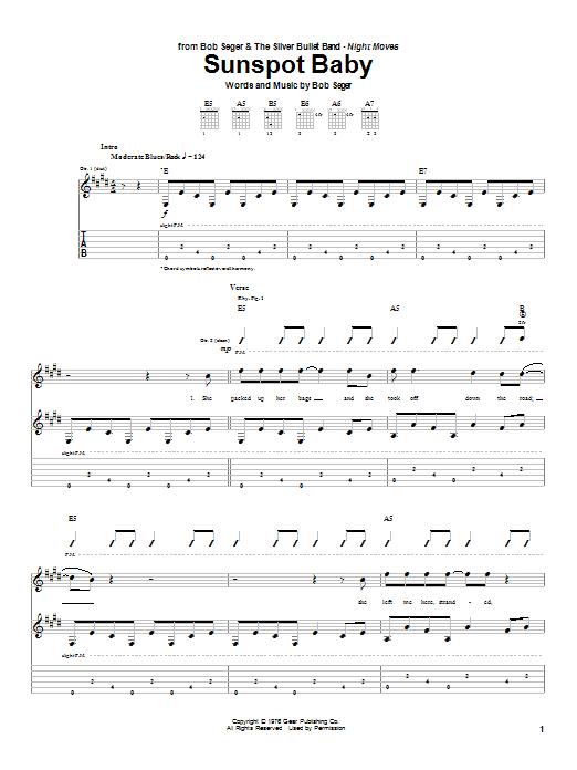 Bob Seger Sunspot Baby sheet music notes and chords. Download Printable PDF.