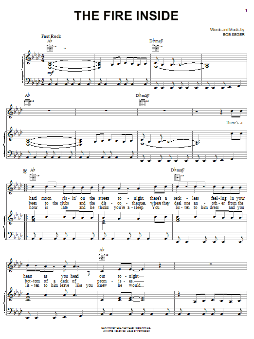 Bob Seger The Fire Inside sheet music notes and chords