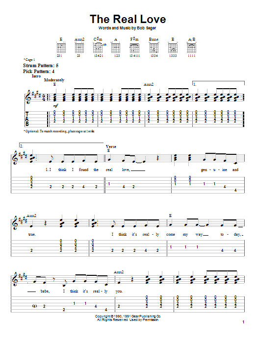 Bob Seger The Real Love sheet music notes and chords. Download Printable PDF.