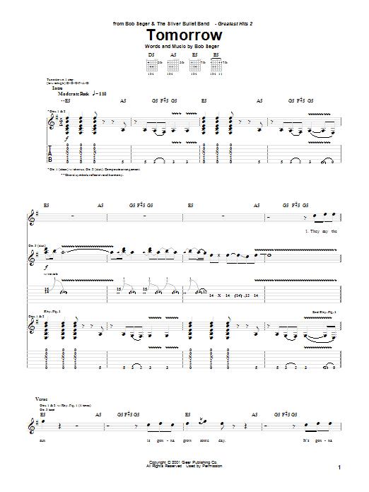 Bob Seger Tomorrow sheet music notes and chords