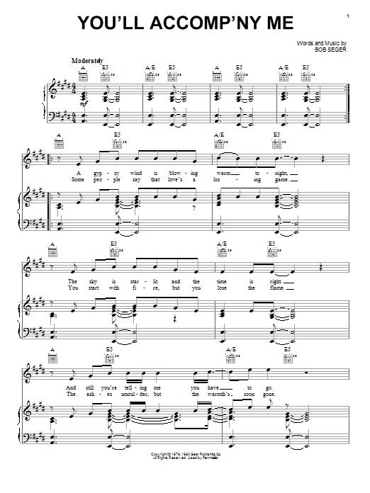 Bob Seger You'll Accomp'ny Me sheet music notes and chords. Download Printable PDF.