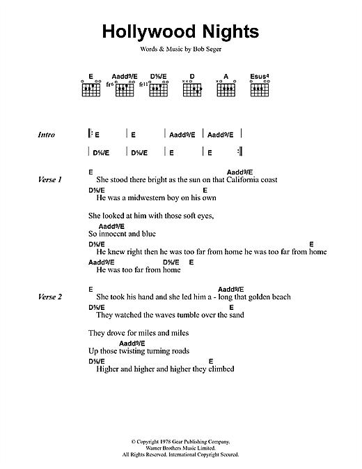 Bob Seger And The Silver Bullet Band Hollywood Nights sheet music notes and chords. Download Printable PDF.